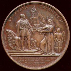 Medaglia commemorativa del giuramento allo Statuto Albertino di Vittorio Emanuele II in occasione dell'apertura del parlamento italiano.