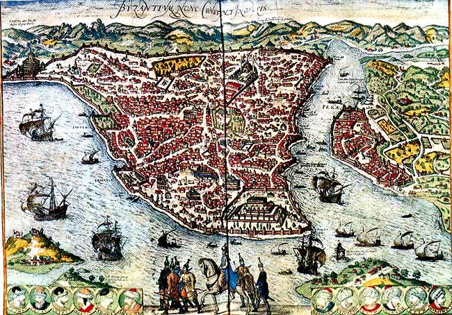 Costantinopoli (Bisanzio) con a fianco Pera (Galata)