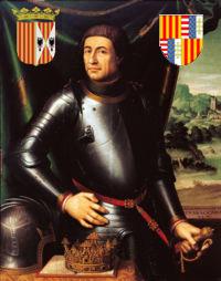 Alfonso, a sinistra stemma regno di Sicilia (1416 - 1458) a destra regno di Napoli (1442-1458)