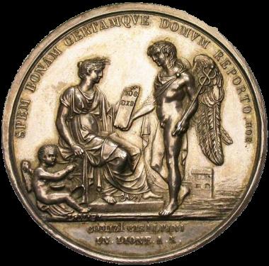 Medaglia che commemora la stesura della Costituzione della Repubblica Cisalpina (incisore Manfredini).