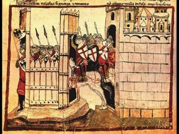 La distruzione di Vittoria in una stampa d'epoca.