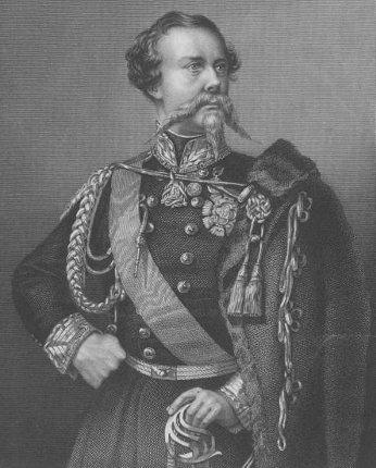 Vittorio Emanuele II in una stampa d'epoca.