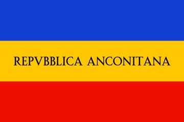Bandiera della Repubblica Anconetana. <br>  Il giallo ed il rosso sono i colori della città di Ancona, il blu simboleggiava il legame con la repubblica francese.
