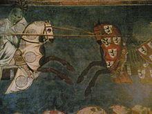 Particolare degli afreschi del palazzo Comunale di San Gimignano (1292) riferito alla Battaglia di Campaldino