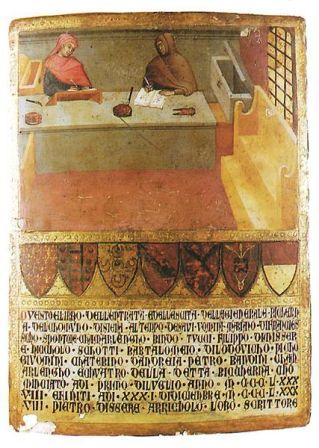 una delle celebri tavolette della Biccherna, il registro delle finanze di Siena