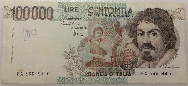100.000 lire Caravaggio 1983