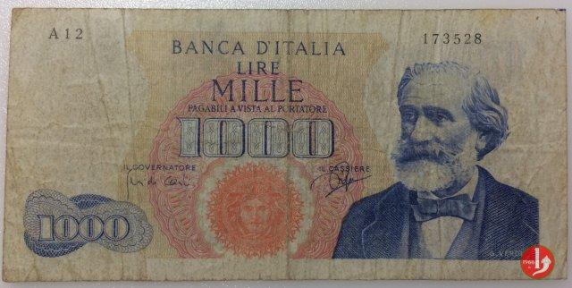 1.000 lire Giuseppe Verdi - Primo tipo 1962