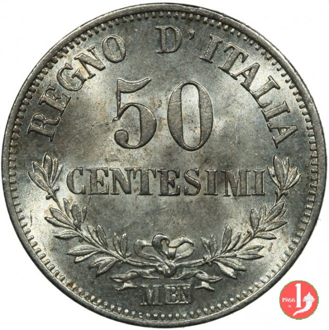 Immagine di una moneta da 50 centesimi valore 1866 milano for Moneta 50 centesimi
