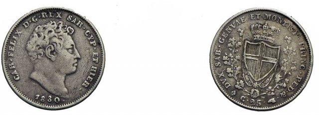 25 centesimi 1830 (Torino)