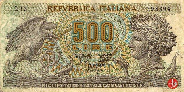 500 lire Testa di Aretusa 1970