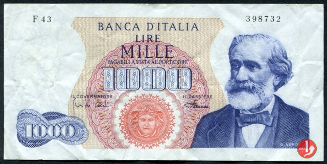 1.000 lire Giuseppe Verdi - Primo tipo 1968