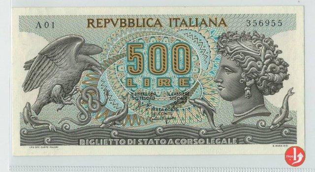 500 lire Testa di Aretusa 1966