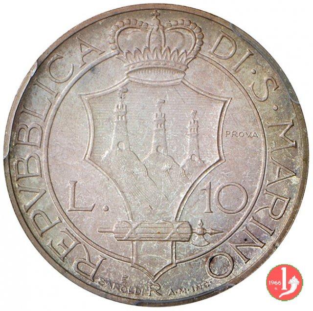 Prova 10 lire 2° tipo 1937 (Roma)