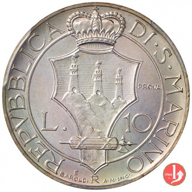 Prova 10 lire 2° tipo 1938 (Roma)