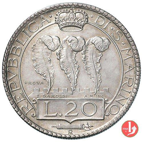 Prova 20 lire 2° tipo 1933 (Roma)