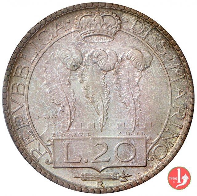 Prova 20 lire 2° tipo 1936 (Roma)
