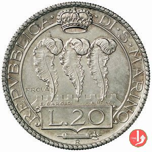 Prova 20 lire 2° tipo 1938 (Roma)