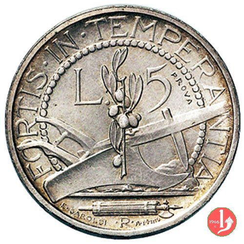 Prova 5 lire 2° tipo 1932 (Roma)