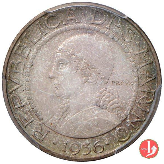 Prova 5 lire 2° tipo 1936 (Roma)