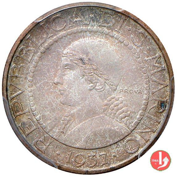 Prova 5 lire 2° tipo 1937 (Roma)