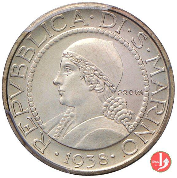 Prova 5 lire 2° tipo 1938 (Roma)
