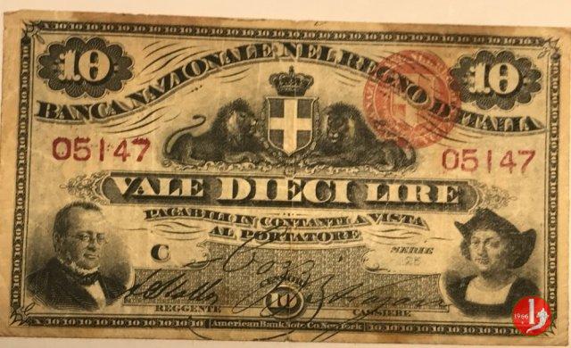 10 Lire Nuovo Tipo 1866