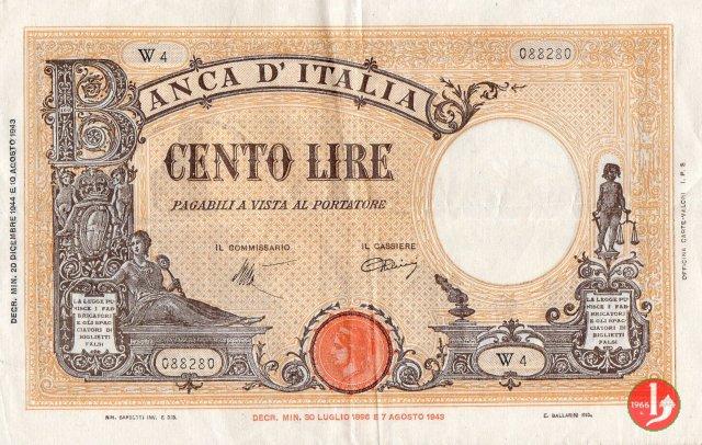 """100 Lire Barbetti """"Grande B"""" 1944"""