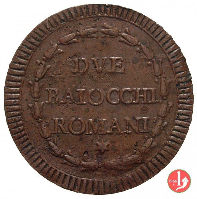 2 baiocchi del 1° tipo (A. XI - A. XXI) 1789-1790 (Roma)