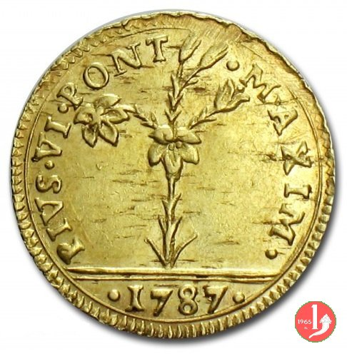 mezza doppia romana pianta e stemmi 1787 (Bologna)