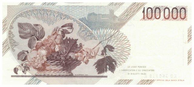100.000 lire Caravaggio 1990