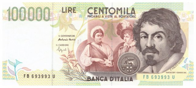 100.000 lire Caravaggio 1995