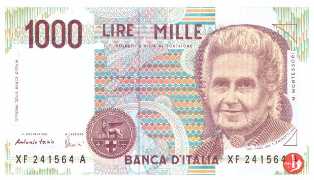 1.000 lire Maria Montessori 1999