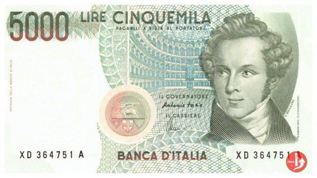 5.000 lire Bellini 2001