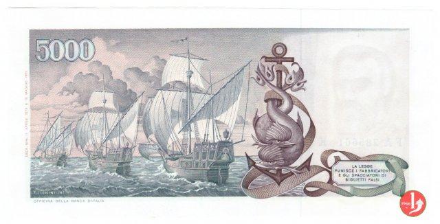 5.000 lire Colombo - Secondo tipo 1973