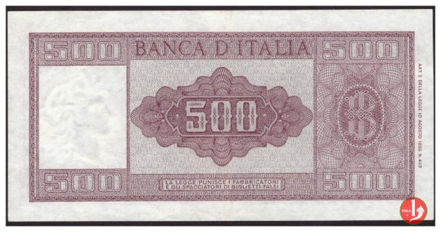 500 lire Italia ornata di spighe 1961
