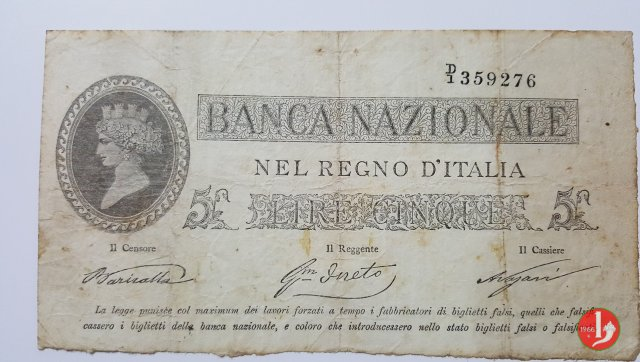 5 Lire Provvisorio 1866