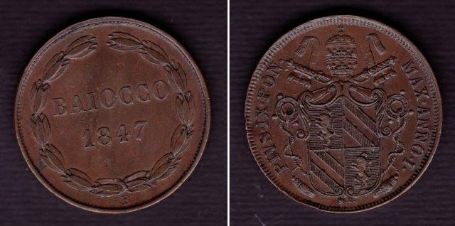 Immagine di una moneta da 1 baiocco 1847 (Bologna)