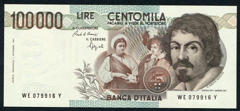 Play Money 500.000 lire RAFFAELLO 100.000 Lire Caravaggio Manzoni Botticelli ETCC